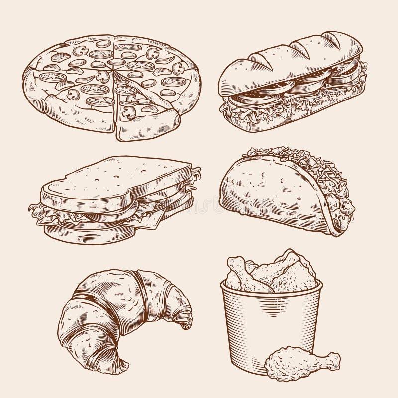 Sistema del dibujo de la mano de los alimentos de preparación rápida del vintage ilustración del vector