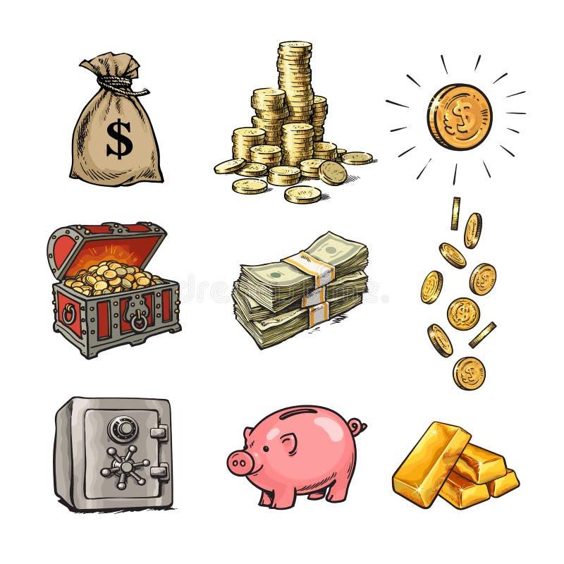 Sistema del dinero de las finanzas de la historieta Saco de dólares, pila de monedas, moneda con la muestra de dólar, cofre del t libre illustration