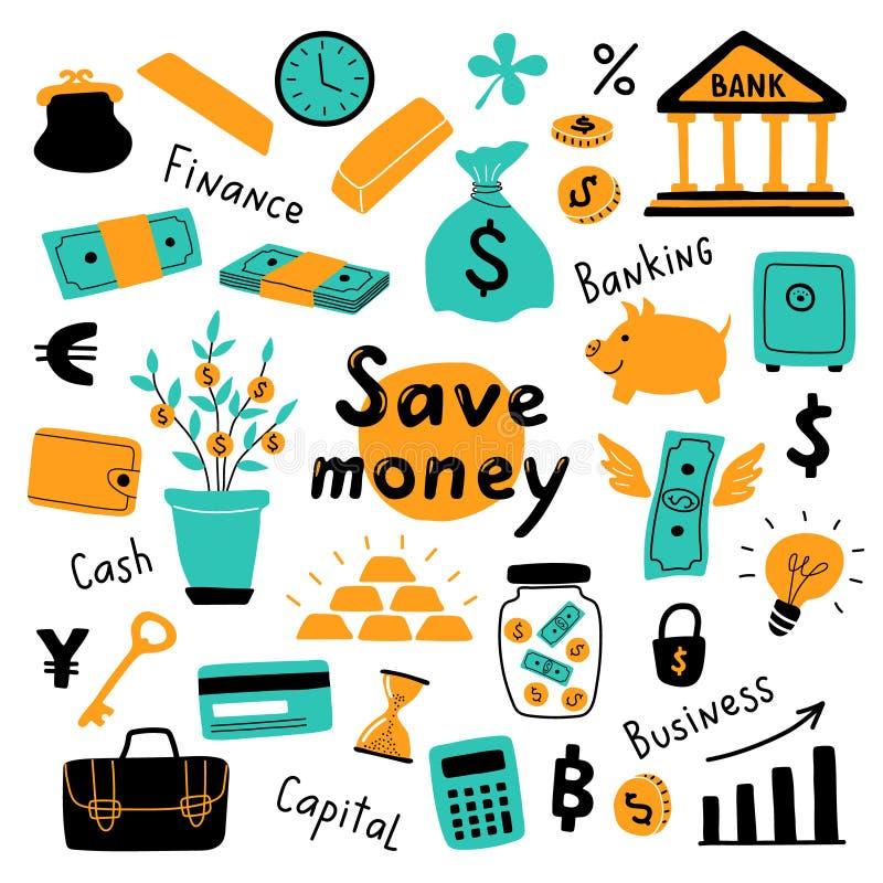 Sistema del dinero, s?mbolos del negocio y elementos financieros Ejemplo exhausto del vector de la mano divertida del garabato Co stock de ilustración