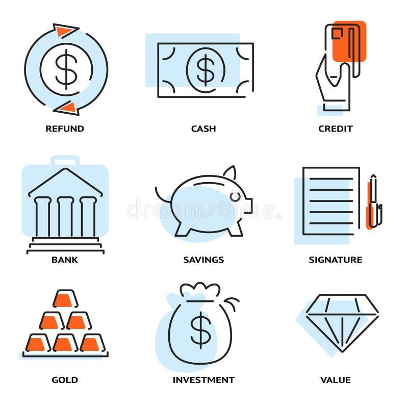 Sistema del dinero y de la línea plana iconos del valor del vector ilustración del vector