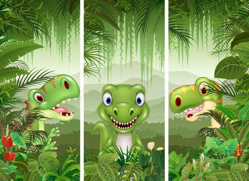 Sistema del dinosaurio con el fondo tropical del bosque libre illustration