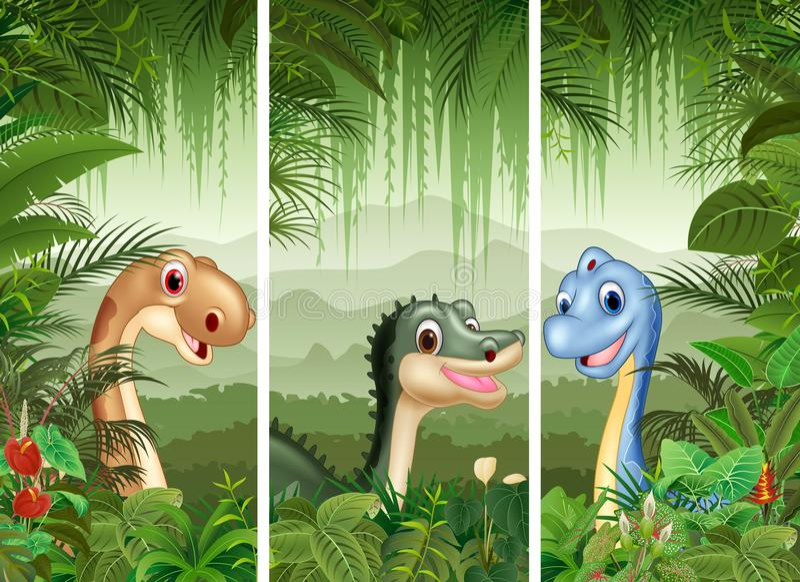 Sistema del dinosaurio con el fondo tropical del bosque ilustración del vector