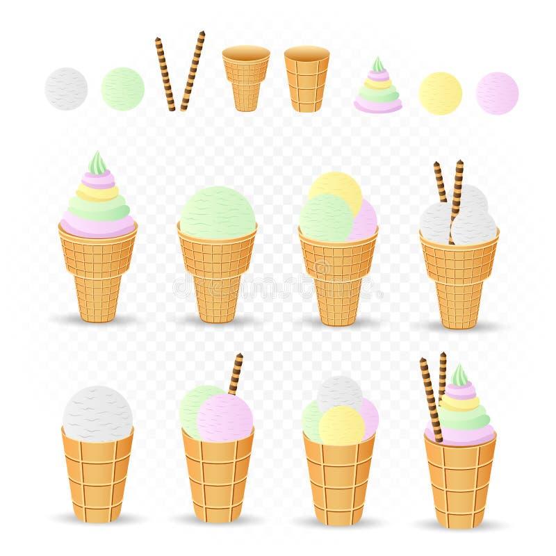 Sistema del diseñador del helado ilustración del vector