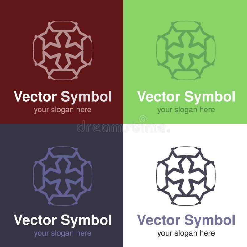 Sistema del diseño blanco verde, rojo, azul y negro abstracto del logotipo de la cruz de Cristian, emblemas para un grupo religio stock de ilustración