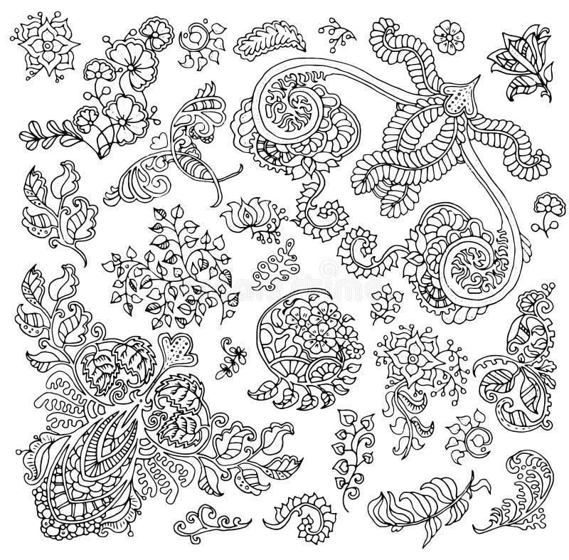 Sistema del diseño con los estampados de flores blancos y negros aislados stock de ilustración