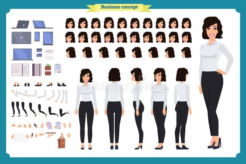 Sistema del diseño de carácter de la empresaria Creación del carácter de la muchacha del negocio fijada con diversos visiones, ac ilustración del vector