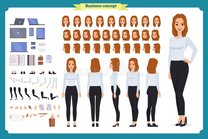 Sistema del diseño de carácter de la empresaria Frente, lado, carácter animado de la visión trasera Negocios vector plano aislado stock de ilustración