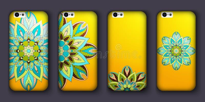 Sistema del diseño de la caja del teléfono Elementos decorativos de la vendimia Fondo dibujado mano Islam, árabe, indio, adornos  ilustración del vector