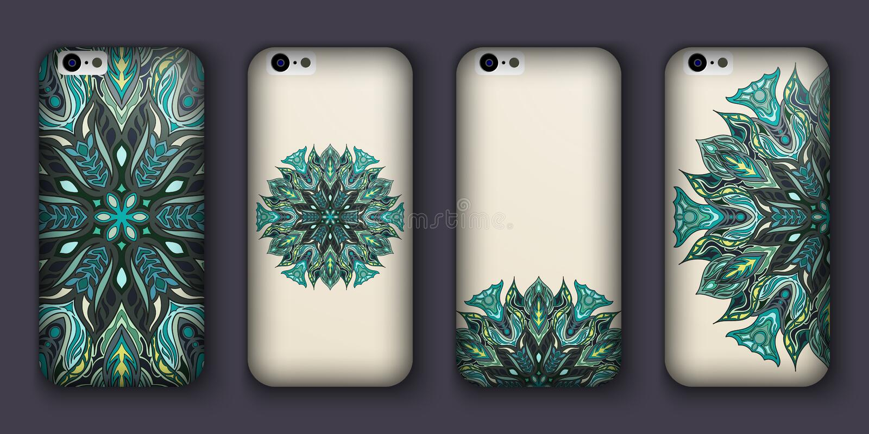 Sistema del diseño de la caja del teléfono Elementos decorativos de la vendimia Fondo dibujado mano Islam, árabe, indio, adornos  libre illustration