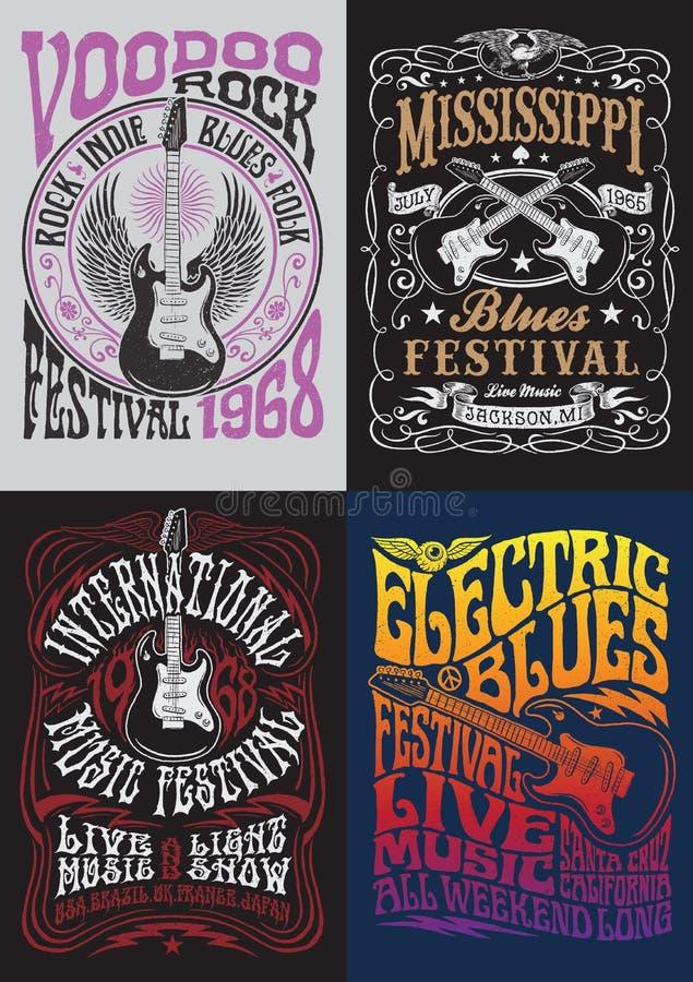 Sistema del diseño de la camiseta del cartel de la roca del vintage stock de ilustración