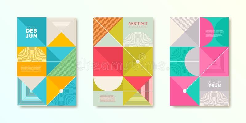 Sistema del diseño de la cubierta con formas geométricas abstractas simples Plantilla del ejemplo del vector ilustración del vector