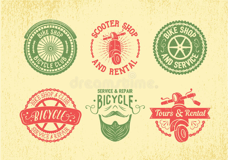 Sistema del diseño de la etiqueta de la bicicleta Tienda, servicio y alquiler de la bici imagenes de archivo