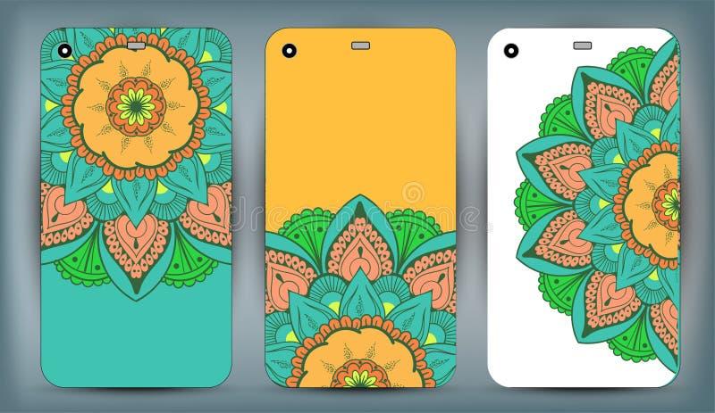 Sistema del diseño de la mandala de la caja del teléfono Elementos decorativos de la vendimia Fondo dibujado mano Islam, árabe, i stock de ilustración