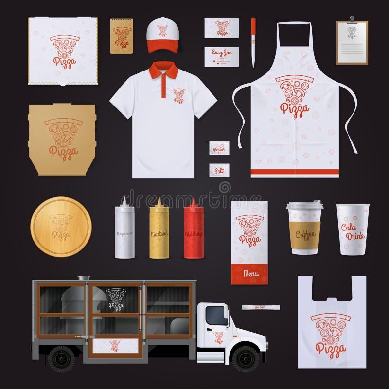 Sistema del diseño de la plantilla de la identidad corporativa de la pizza libre illustration