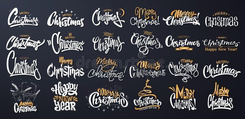 Sistema del diseño de letras de la Feliz Navidad Ilustración del vector ilustración del vector