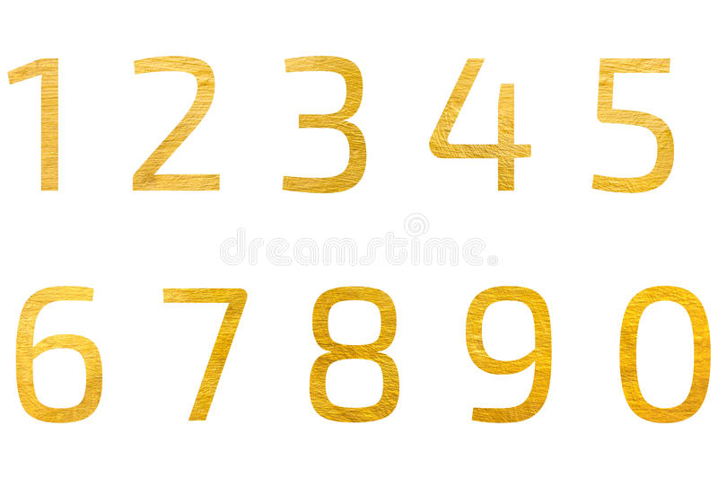 Sistema del diseño de oro número 1 a 0 del fondo ilustración del vector
