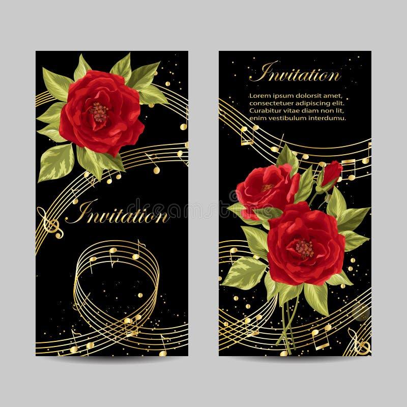 Sistema del diseño de tarjetas de la invitación de la boda libre illustration
