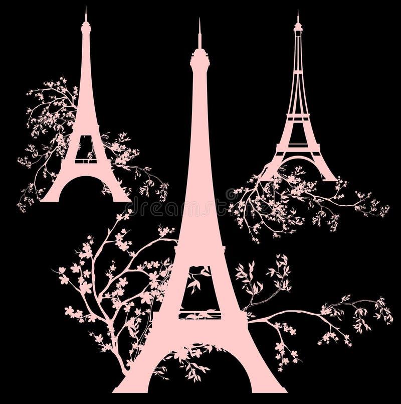 Sistema del diseño de torre Eiffel de la primavera ilustración del vector