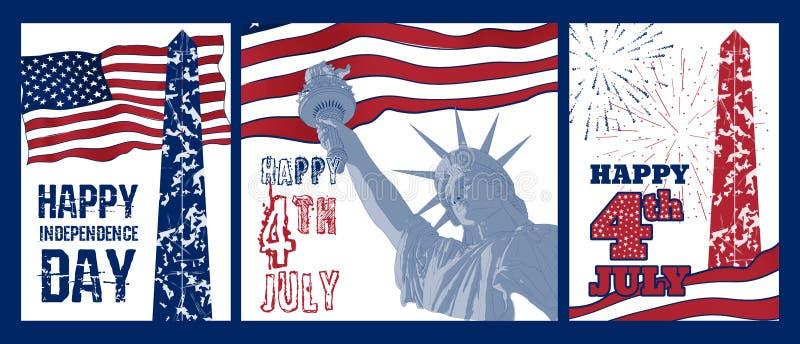 Sistema del diseño del arte de estatua de la libertad con la bandera americana stock de ilustración