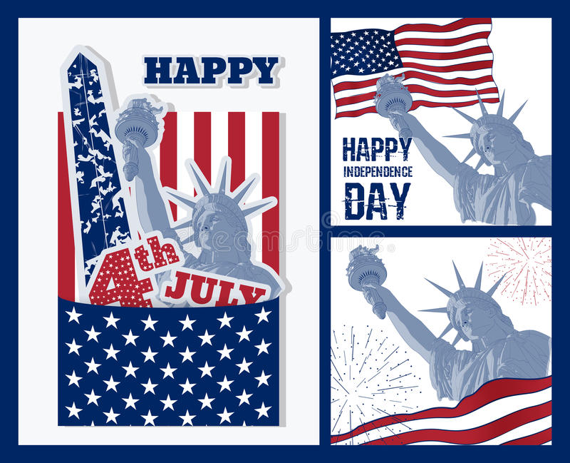 Sistema del diseño del arte de estatua de la libertad con la bandera americana Diseño para cuarto la celebración los E.E.U.U. de  stock de ilustración