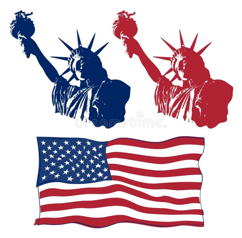 Sistema del diseño del arte de estatua de la libertad con la bandera americana Diseño para cuarto la celebración los E.E.U.U. de  libre illustration