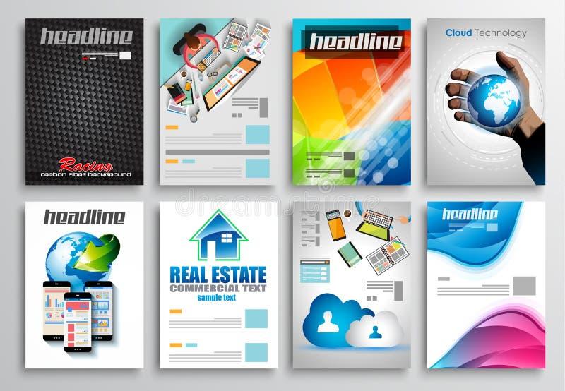 Sistema del diseño del aviador, plantillas de Infographic Diseños del folleto stock de ilustración