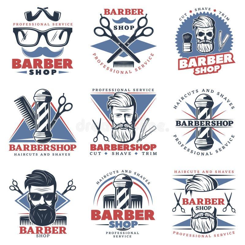 Sistema del diseño del emblema de la barbería stock de ilustración
