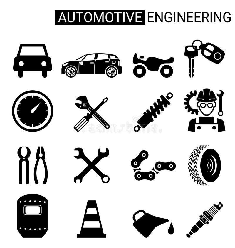 Sistema del diseño del icono de la ingeniería automotriz para la industria libre illustration