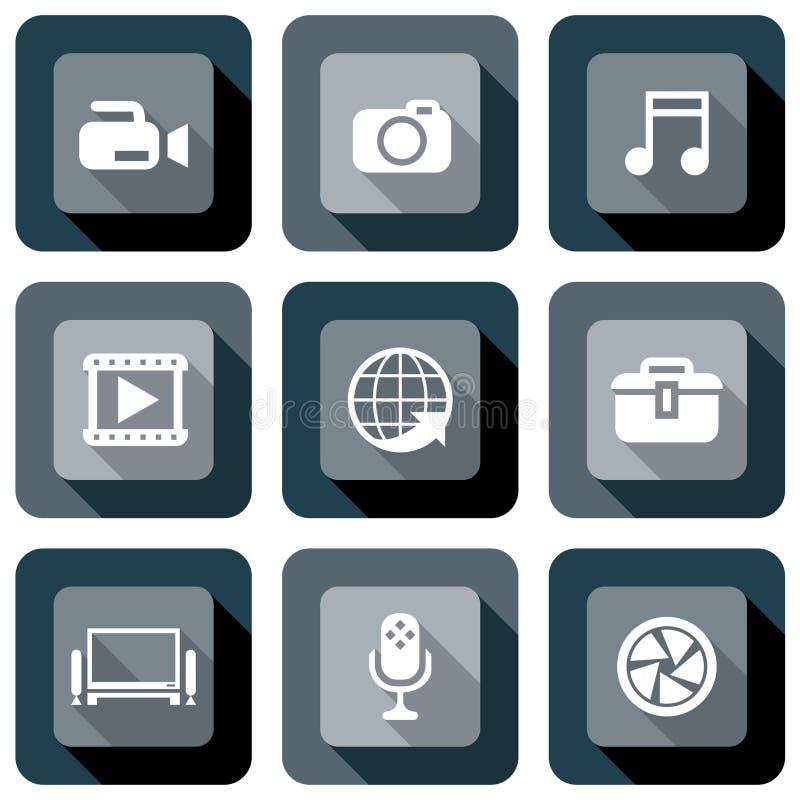 Sistema del diseño del icono de las multimedias stock de ilustración