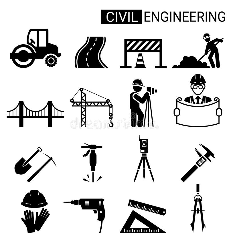 Sistema del diseño del icono del genio civil para el construc de la infraestructura stock de ilustración