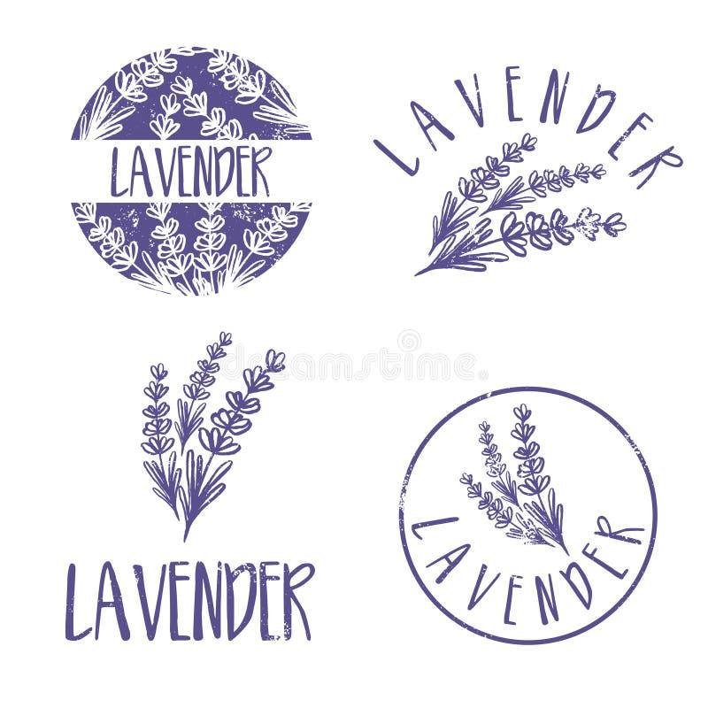 Sistema del diseño del logotipo de la plantilla de lavanda abstracta del icono stock de ilustración