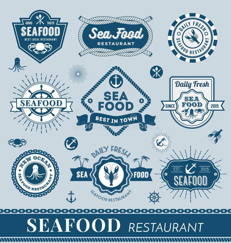 Sistema del diseño del logotipo del restaurante de los mariscos ilustración del vector