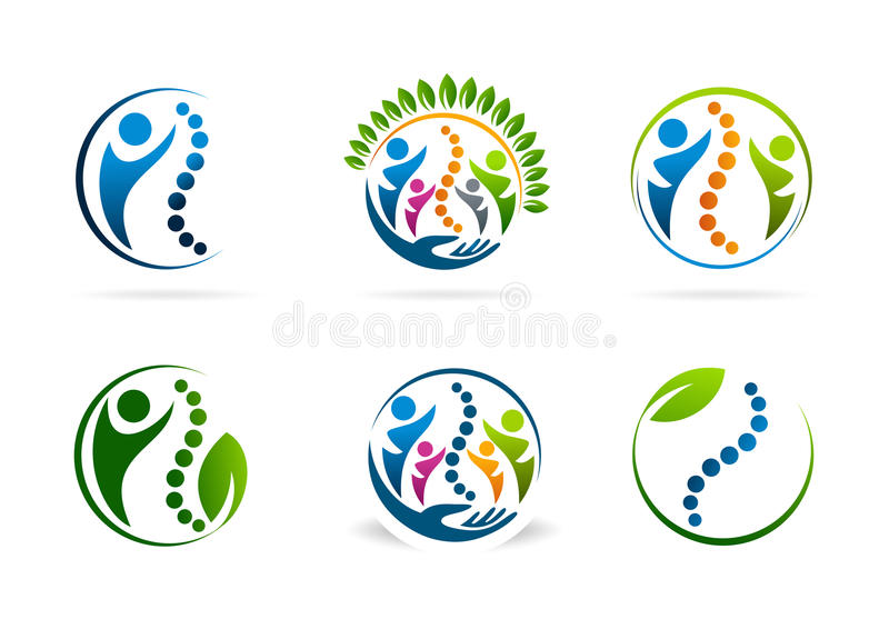 Sistema del diseño del logotipo del vector de la quiropráctica libre illustration