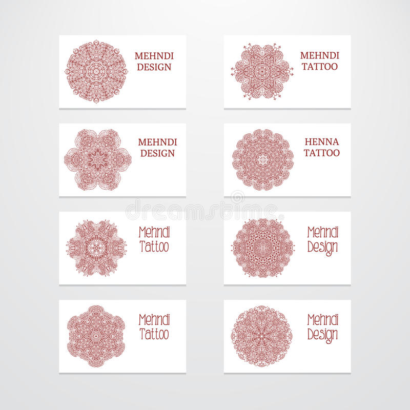 Sistema del diseño del mehndi de las plantillas de la tarjeta de visita libre illustration