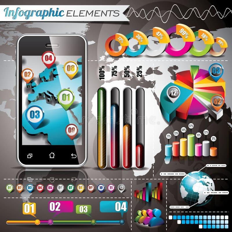 Sistema del diseño del vector de elementos infographic. Gráficos del mapa del mundo y de la información. libre illustration
