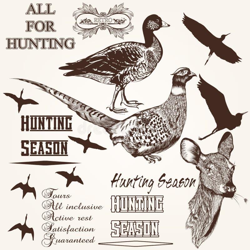Sistema del diseño dibujado mano de la temporada de caza de los animales del vector ilustración del vector