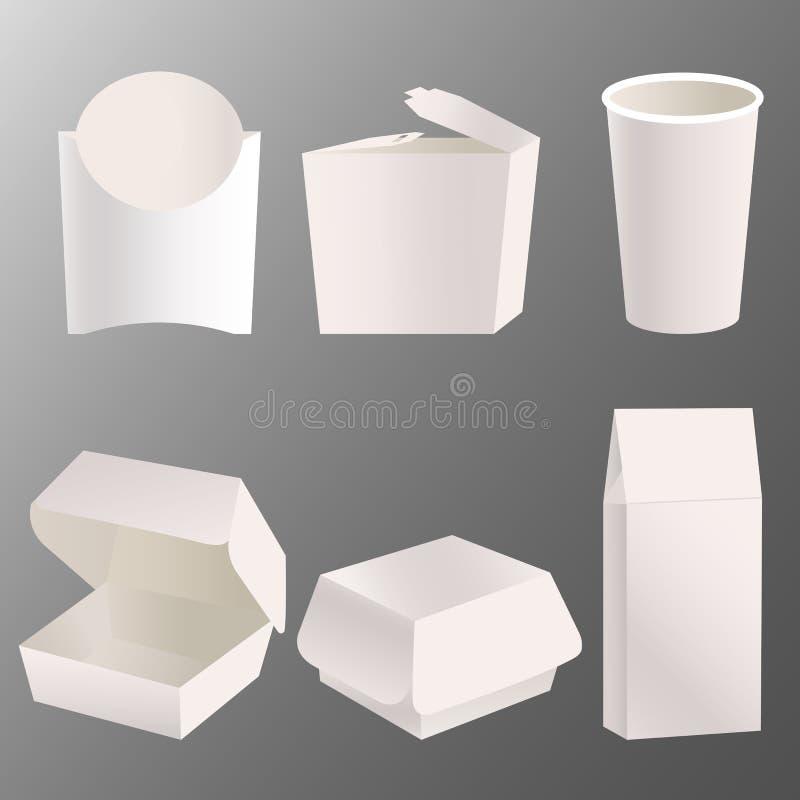 Sistema del diseño en blanco de la maqueta de la caja de la comida para llevar ilustración del vector