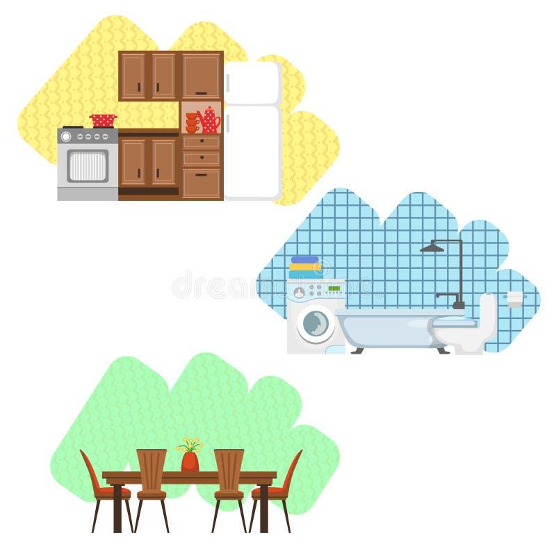 Sistema del diseño interior de la cocina, del cuarto de baño y del comedor stock de ilustración