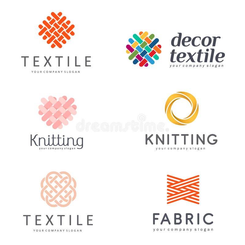 Sistema del diseño del logotipo del vector para la tienda que hace punto, materia textil libre illustration