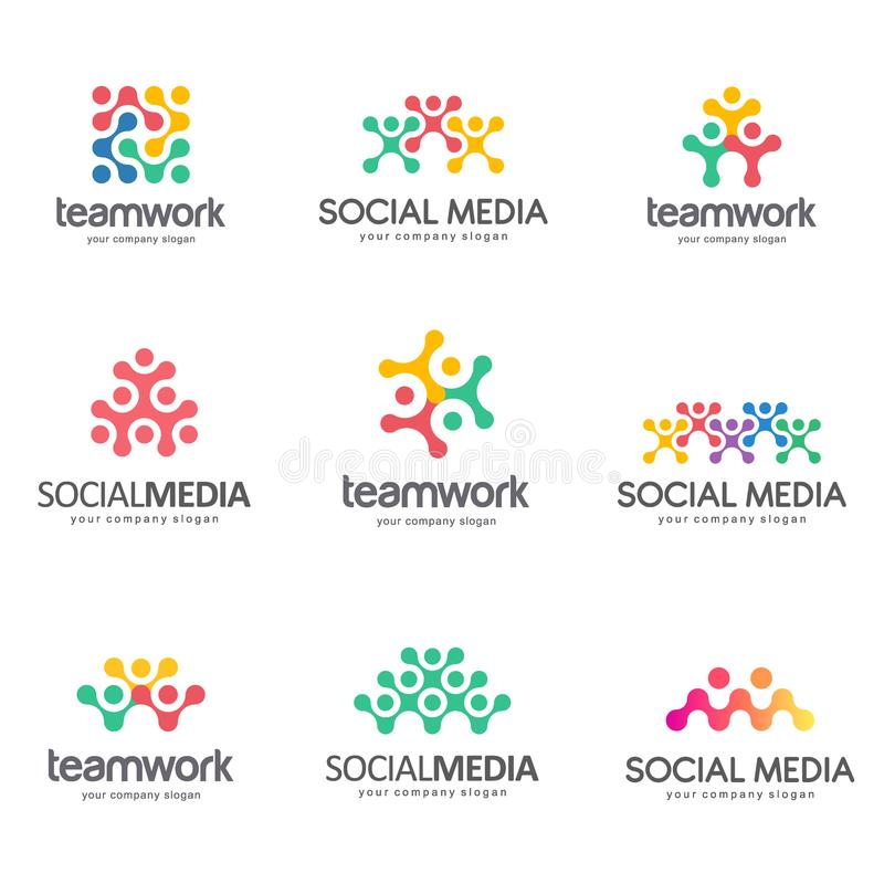 Sistema del diseño del logotipo del vector para los medios sociales, trabajo en equipo, alianza stock de ilustración