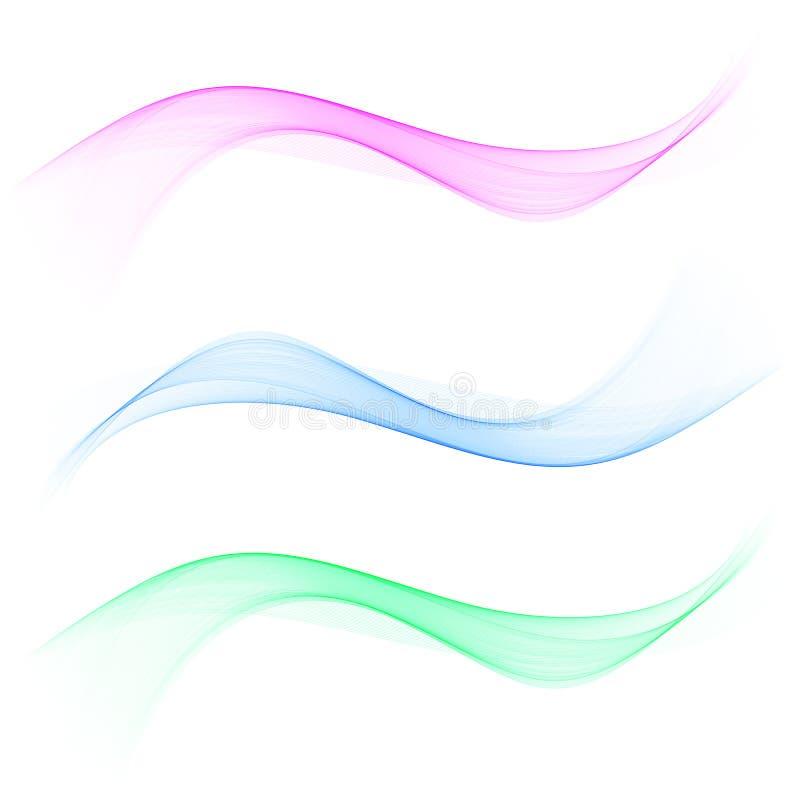 Sistema del diseño ondulado verde rosado azul transparente del color del humo abstracto de la onda libre illustration