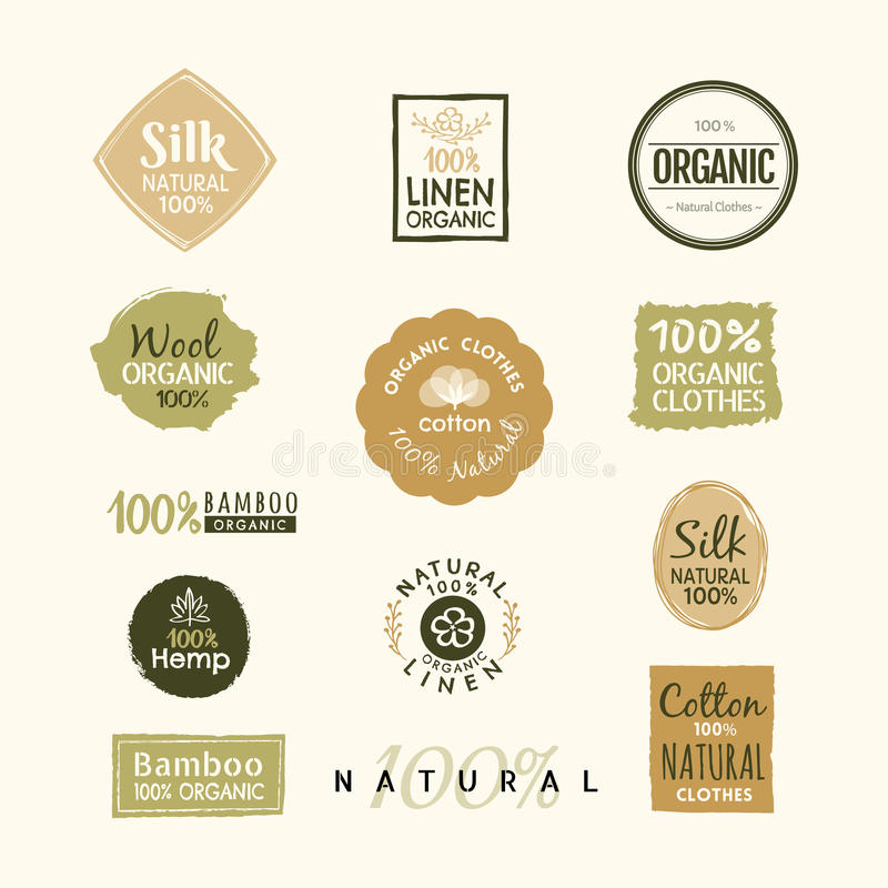 Sistema del diseño orgánico dibujado mano de la insignia de la etiqueta del logotipo de la ropa libre illustration