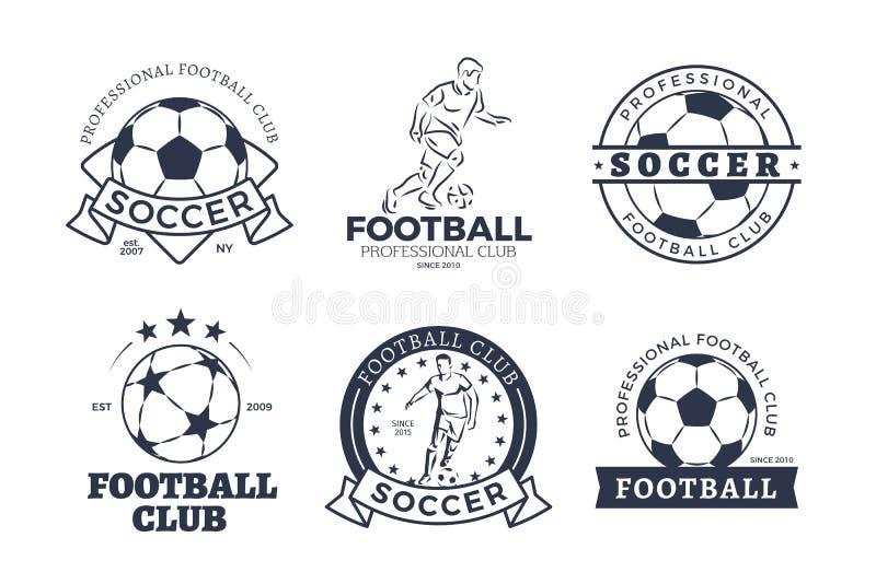 Sistema del diseño plano de los iconos gráficos del club del fútbol stock de ilustración