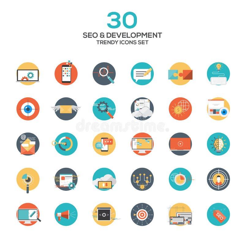 Sistema del diseño plano moderno SEO y de iconos del desarrollo stock de ilustración