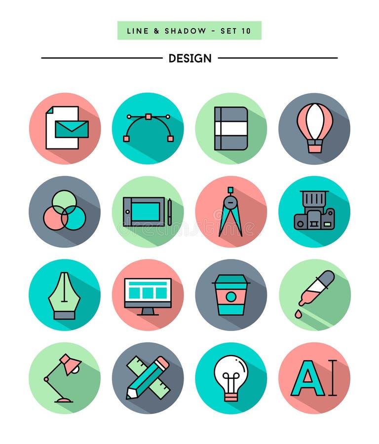 Sistema del diseño plano, sombra larga, iconos de las herramientas de la línea diseñador fino stock de ilustración