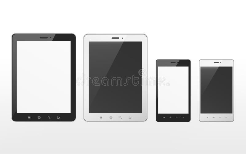 Sistema del dispositivo con la tableta y el teléfono elegante stock de ilustración