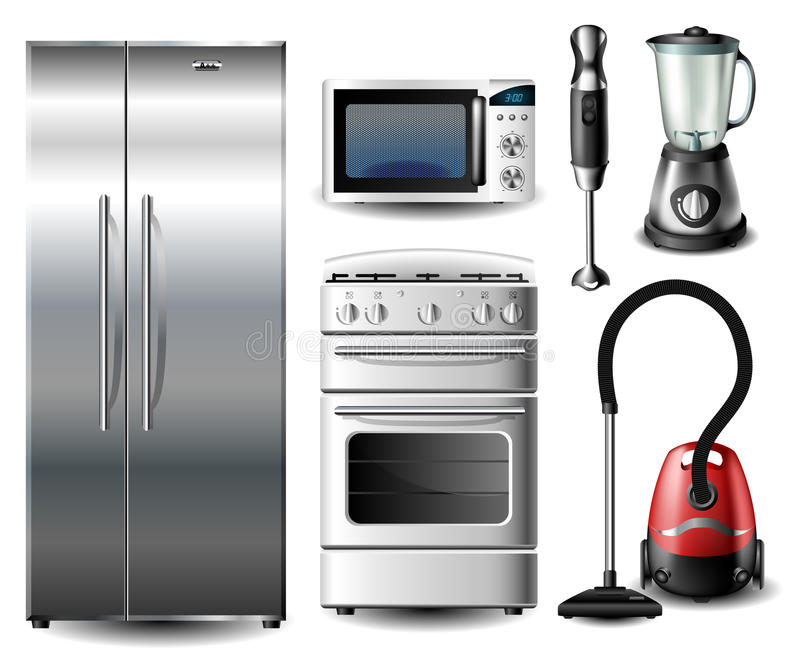 Sistema del dispositivo de cocina stock de ilustración