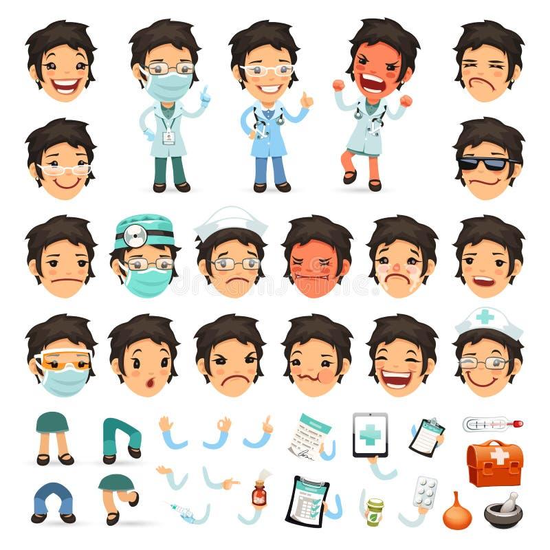 Sistema del doctor Character de la mujer de la historieta para su stock de ilustración