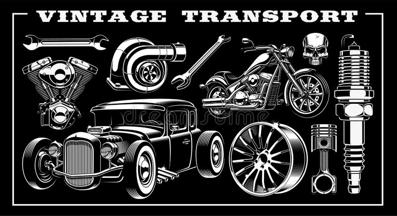 Sistema del ejemplo blanco y negro del transporte del vintage libre illustration