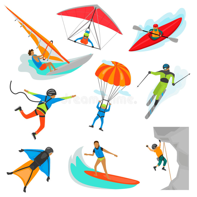 Sistema del ejemplo de color de los deportes del extremo aislado en blanco ilustración del vector